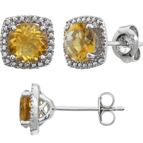 Sterling Silver Halo Citrine and Diamond Earrings