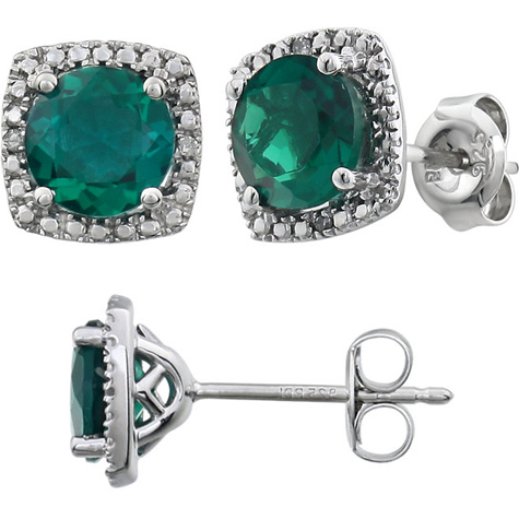 Sterling Silver Halo Created Emerald and Diamond Earrings