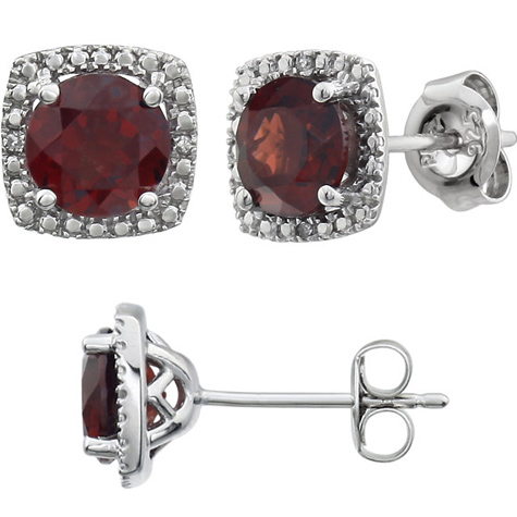 Sterling Silver Halo Garnet and Diamond Earrings