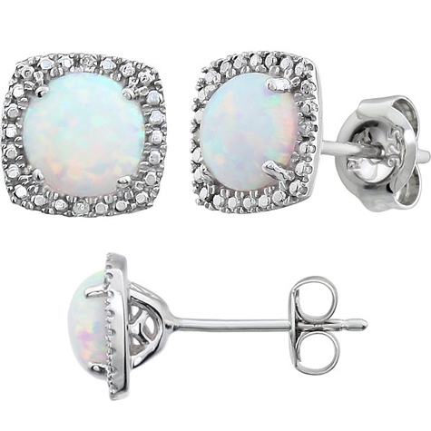 Sterling Silver Halo Created Opal and Diamond Earrings
