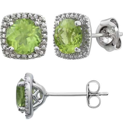 Sterling Silver Halo Perdiot and Diamond Earrings