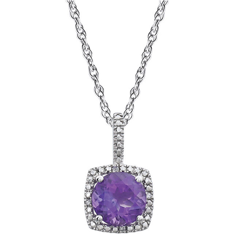 18in Sterling Silver Halo Amethyst and Diamond Necklace