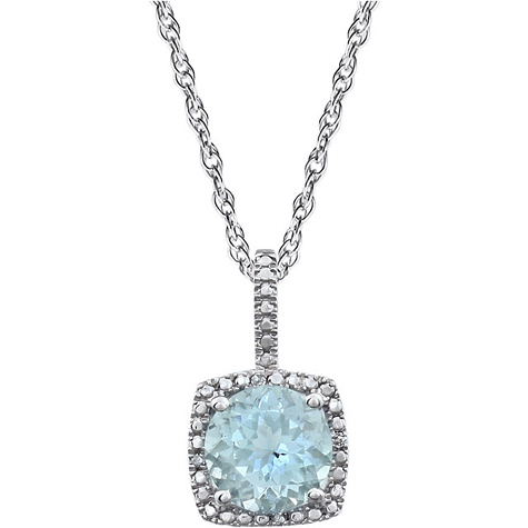 Sterling Silver Halo Aquamarine and Diamond 18in Necklace