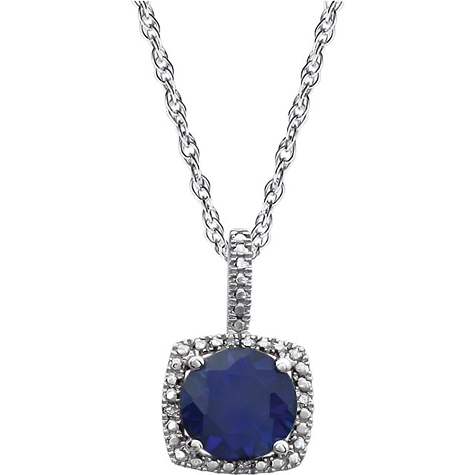 18in Sterling Silver Halo Created Blue Sapphire and Diamond Necklace