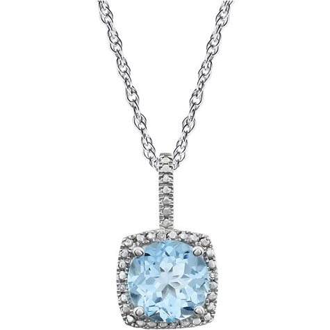 18in Sterling Silver Halo Blue Topaz and Diamond Necklace