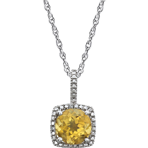 Sterling Silver Halo Citrine and Diamond 18in Necklace
