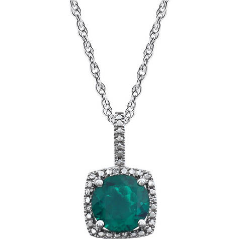 18in Sterling Silver Halo Created Emerald and Diamond Necklace