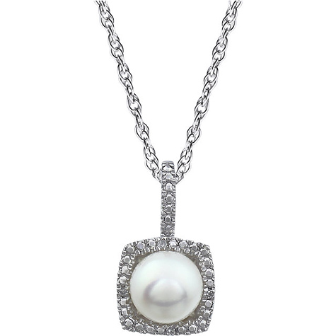 18in Sterling Silver Halo Freshwater Pearl and Diamond Necklace