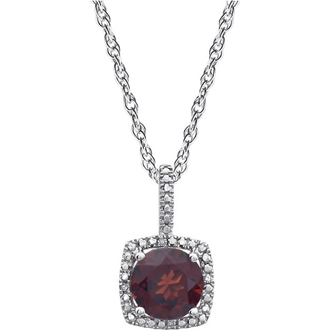 Sterling Silver Halo 1 2/3 ct Garnet and Diamond 18in Necklace