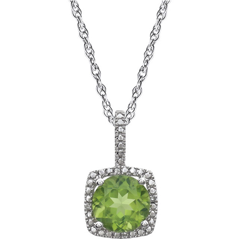 Sterling Silver 18in Halo Peridot and Diamond Necklace