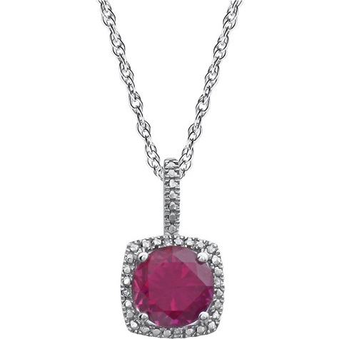 Sterling Silver Halo Created Ruby and Diamond 18in Necklace