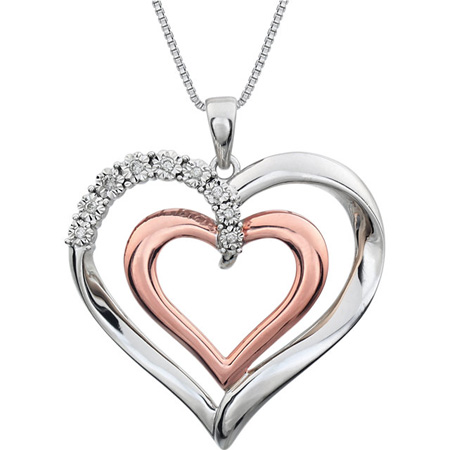 Sterling Silver .06 ct Diamond Heart 18in Necklace