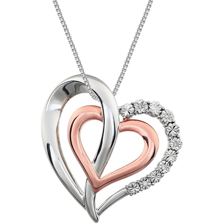 Rose Gold Plated Sterling Silver Diamond Hearts 18in Necklace