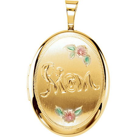 Gold-plated Sterling Silver 3/4in Oval Mom Locket