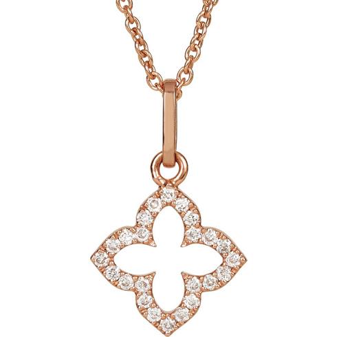 14kt Rose Gold Petite Diamond Cross 16in Necklace