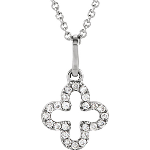 14kt White Gold Dainty Diamond Cross 16in Necklace