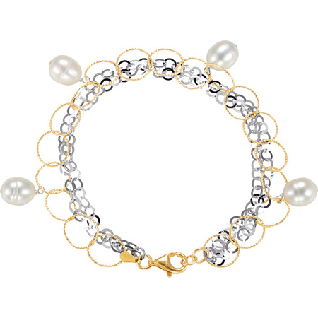 7 1/2in Gold Plated Freshwater Cultured Pearl Bracelet