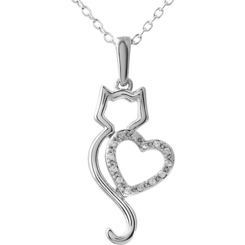 10kt White Gold .05 ct Diamond Cat Silhouette with Heart 18in Necklace