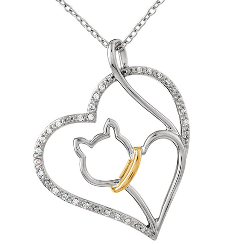 Sterling Silver & 10kt Yellow Gold 1/10 ct Diamond Cat Heart 18in Necklace