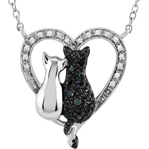 Sterling Silver 1/5 ct Black & White Diamond Cats Heart 18in Necklace