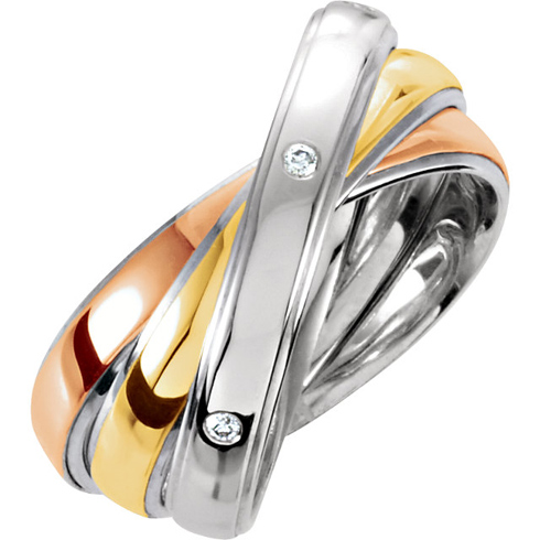 Sterling Silver 10kt Tri-Tone Gold Diamond Rolling Rings
