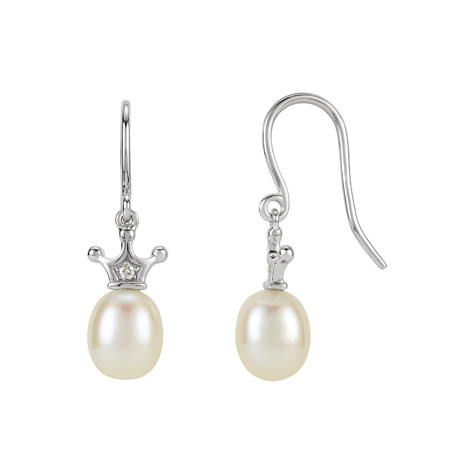 14kt White Gold Diamond Freshwater Cultured Pearl Crown Earrings