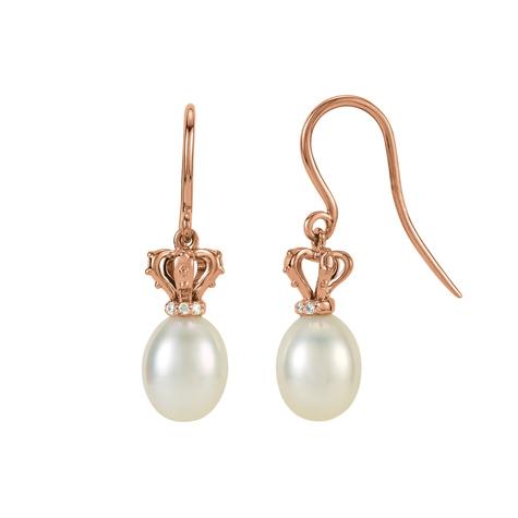 14kt Rose Gold Diamond Freshwater Cultured Pearl Earrings