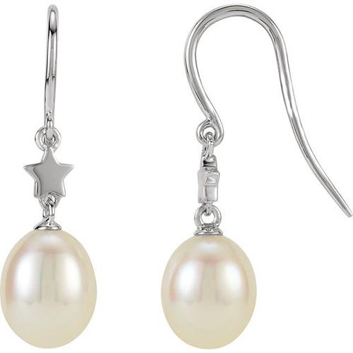 14kt White Gold Diamond Freshwater Cultured Pearl Star Earrings