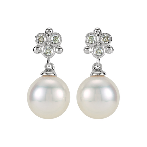 14kt White Gold Diamond Freshwater Cultured Pearl Earrings
