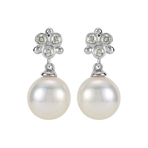 14kt White Gold Diamond Freshwater Cultured Pearl Earrings