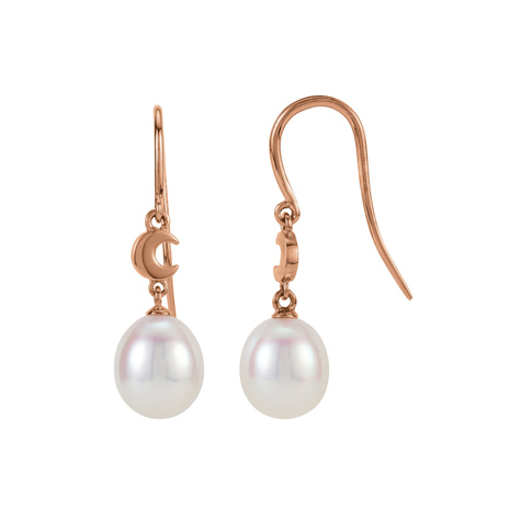 14kt Rose Gold Diamond Freshwater Cultured Pearl Moon Earrings