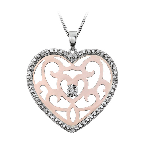 Rose Gold Plated Sterling Silver .07 ct Diamond Heart 18in Necklace