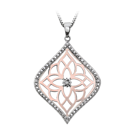 Rose Gold Plated Sterling Silver .07 ct Diamond Fancy 18in Necklace