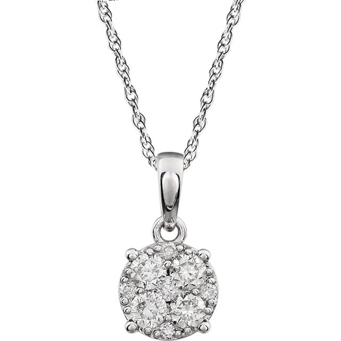 14kt White Gold 3/8 ct Diamond Cluster 18in Necklace