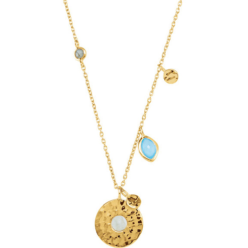 18kt Gold-plated Blue Chalcedony & Labradorite 17 1/2in Necklace