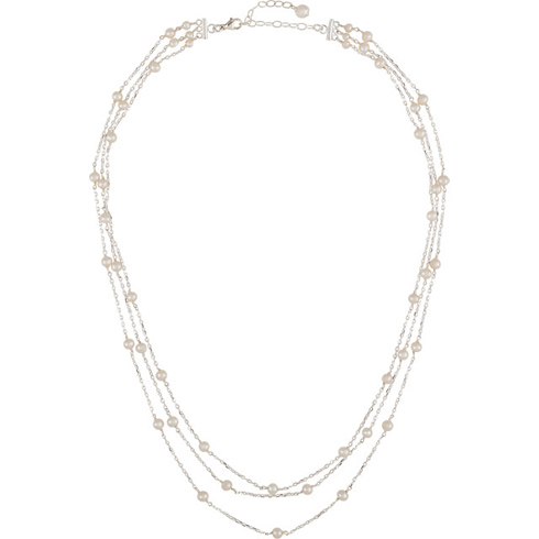 Sterling Silver Freshwater Cultured Pearl 3 Tier 17in Necklace