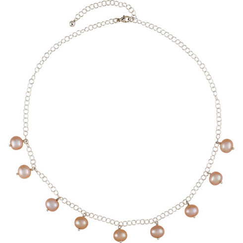 Sterling Silver 8mm Pink Freshwater Cultured Pearl 16in Necklace