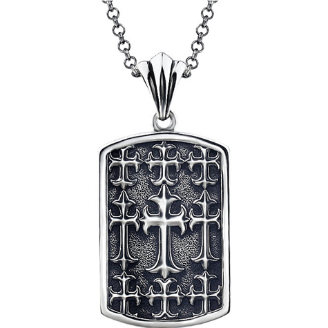 Sterling Silver 2in Antiqued Cross Dog Tag