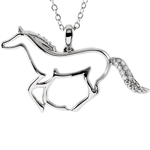 Sterling Silver .04 ct Diamond Horse 18in Necklace