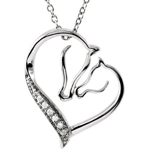 Sterling Silver .04 ct Diamond Horse Heart 18in Necklace