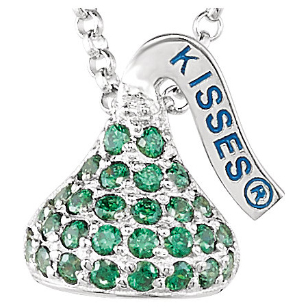 Sterling Silver 1/2in HERSHEY'S KISSES August Birthstone Necklace
