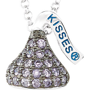 Sterling Silver 1/2in HERSHEY'S KISSES February Birthstone Necklace