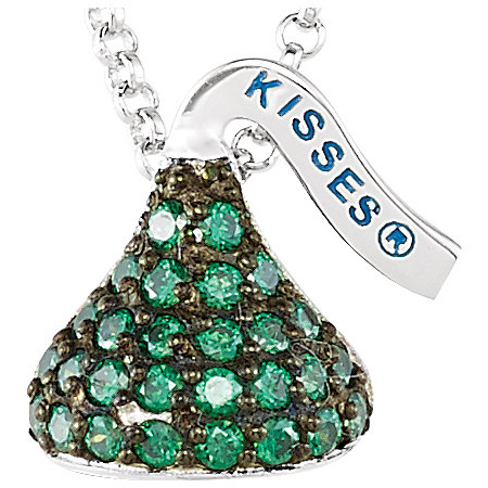 Sterling Silver 1/2in HERSHEY'S KISSES May Birthstone Necklace