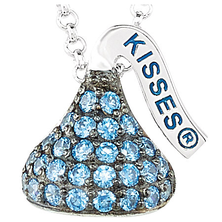Sterling Silver 1/2in HERSHEY'S KISSES September Birthstone Necklace