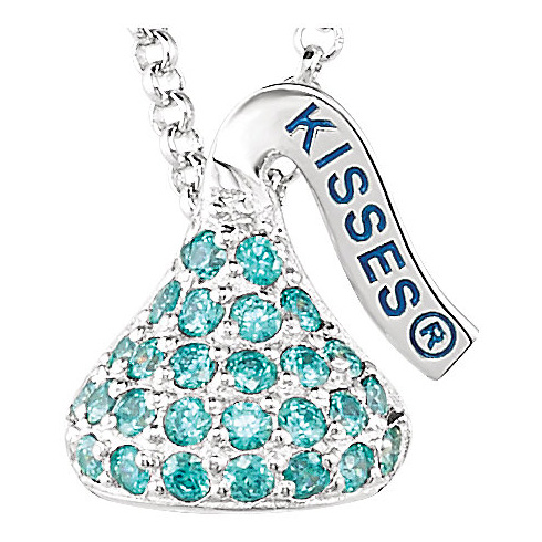 Sterling Silver 1/2in HERSHEY'S KISSES December Birthstone Necklace