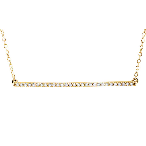14kt Yellow Gold 1/6 ct Diamond Bar on 18in Necklace