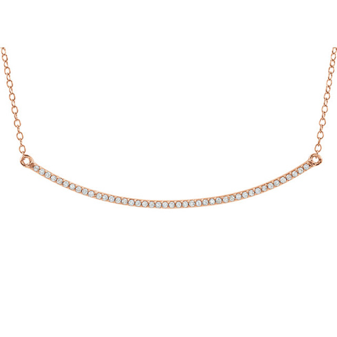 14kt Rose Gold 1/6 ct Diamond Curved Bar on 18in Necklace