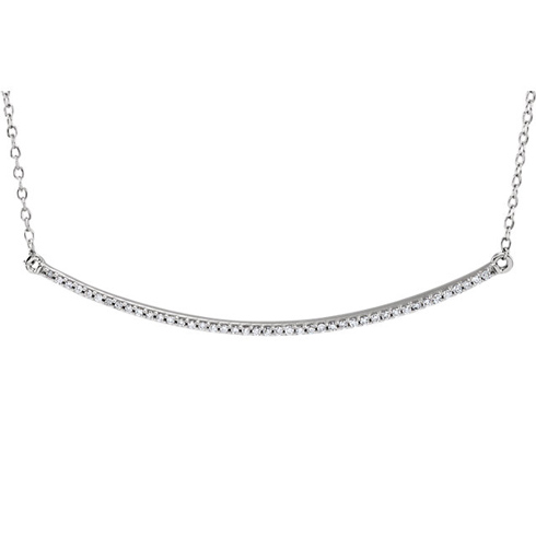14kt White Gold 1/6 ct Diamond Curved Bar on 18in Necklace