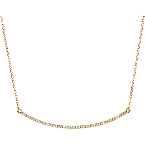 14kt Yellow Gold 1/6 ct Diamond Curved Bar on 18in Necklace