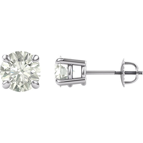 14kt White Gold 2 1/2 ct Moissanite Stud Screwback Earrings